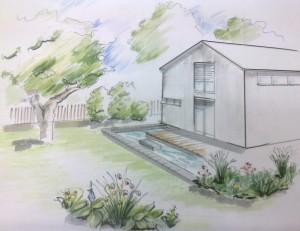 Visualisierung Perspektivzeichnung Gartengestaltung